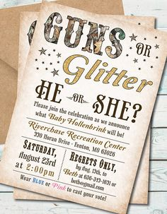 Humorous Gender Reveal Party Ideas | Halfpint Design - Guns or glitter gender reveal party invitation