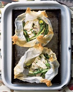Recipe: Fish and vegetable phyllo pastry parcels.
