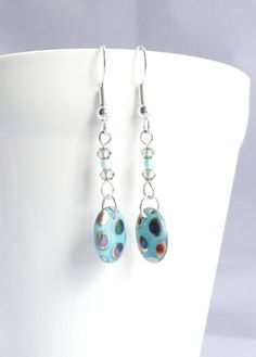 Fun Dangle Earrings Turquoise Spotty Earrings Blue Boho