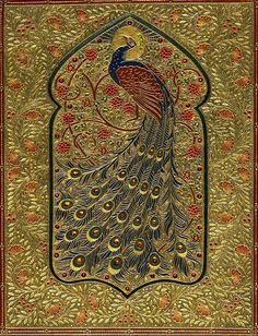 Omar Khayyam, Binding by F. Sangorski, Heavily tooled green levant 'peacock' binding, with inset gem-stones and inlaid doublures. In box. (Division of Rare and Manuscript Collections, Cornell University Library) Book Cover Art, Book Cover Design, Book Art, Vintage Book Covers, Vintage Books, Old Books, Antique Books, Dora Carrington, Walton Ford
