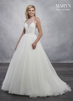 48cef72db7d Marys Bridal Bridal Ball Gowns dress with Style - Fabric - Organza Tulle  Satin Applique and Color - Ivory or White