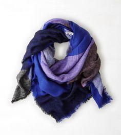 Blue AEO Plaid Blanket Scarf