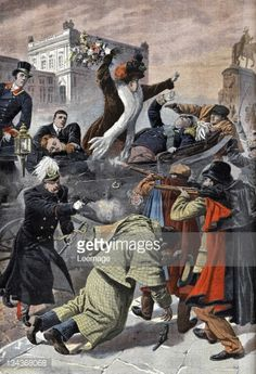 Assassination of King Carlos I of Portugal and Prince Royal Luis Filipe by republican activists Alfredo Costa and Manuel Buica, on 1 February 1908, in Lisbon. Illustration from French newspaper Le...