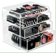 Organize make up in clear container set, so i can see everything. tired of my out-of-sight-out-of-mind metal traincase.