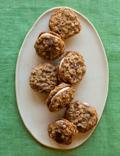 Oatmeal and Chocolate Chip, Cream-Filled Cookie Sandwiches
