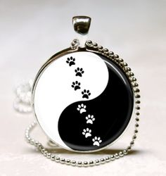 Yin Yang Necklace Yin Yang Paw Prints by MissingPiecesStudio, $9.95
