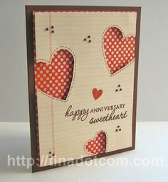 Pretty anniversary card with cut out hearts - can be done with the Cricut Explore, Cricut, Silhouette, etc.