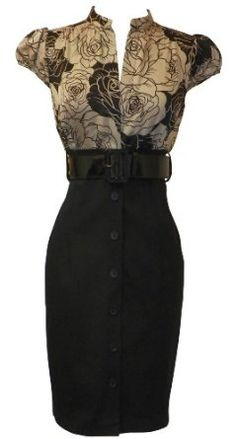 Satin Top Dress w/Belted Black Pencil Skirt #Business #Outfit #Work www.Your24hCoach.com
