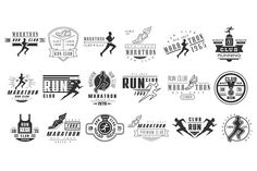 Running club labels Templates Running club labels, emblems and design elements vector setOriginal elements to create your own de by TopVectors Running Race, Running Club, Business Brochure, Business Card Logo, Logos Ideas, Script Type, Minimal Logo, Creative Sketches, Creative Design