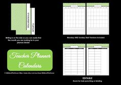 GREEN EDITABLE Teacher Planner Printable lesson planner, binder cover, school organizer, substitute teacher binder, field trip planner, student data, hall pass log, while you were away, monthly calendar, teacher calendar, checklist, weekly lesson planner, available here https://www.etsy.com/au/listing/198943555/green-editable-teacher-planner-printable?ref=shop_home_active_2