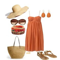 Beachy coral outfit. I need this vacation and I need to find this hat!