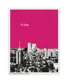 Tulsa Oklahoma Art Print - 8x10 World Traveler Series Pop Art Skyline Poster Available in 56 Colors - UOK026. $20.00, via Etsy.