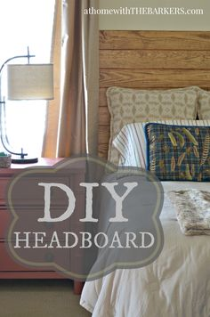 DIY Headboard for Master Bedroom Makeover using plank pine boards