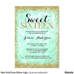 Mint Gold Faux Glitter Lights Sweet 16 Birthday Card A glamorous sweet 16 invitation, featuring a mint green sparkle lights background with a faux gold glitter border. Designs are flat printed illustrations/graphics - NOT ACTUAL GOLD GLITTER.