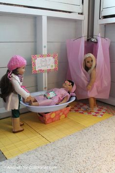 I don't know about you, but I could really use a spa day and I am sure the dolls could use one, too. I had planned on doing a doll spay day as part of our 100 Days of Doll Play later in the s… My American Girl Doll, American Girl Crafts, American Girl Clothes, Girl Doll Clothes, Doll Crafts, Diy Doll, Ag Dolls, Girl Dolls, Play Day