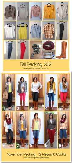Fall Packing Recap - 12 Pieces, 10 Outfits (ww.puttingmetogether.com/2012/12/fall-packing-recap-12-pieces-10-outfits.html)