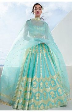 Shop from an exclusive range of luxurious wedding dresses & bridal wear by Anita Dongre. Bring home hand-embroidered wedding wear in colors inspired by nature. Indian Gowns Dresses, Indian Fashion Dresses, Indian Designer Outfits, Bridal Dresses, Designer Dresses, Bridal Lehenga Collection, Party Wear Lehenga, Lehenga Suit, Blue Lehenga