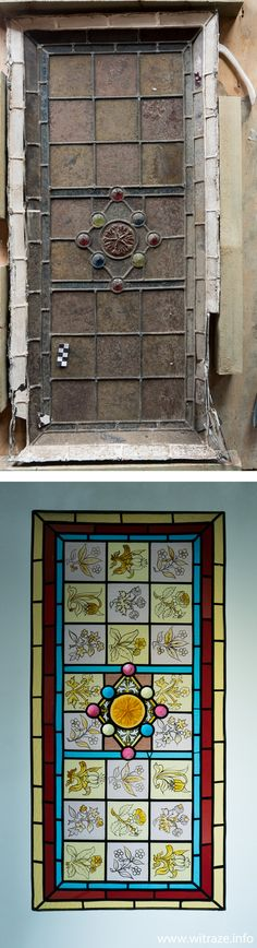 -Before and After- Victorian stained glass panel renovated by WITRAŻE s.c. Studio from Warsaw www.witraze.info
