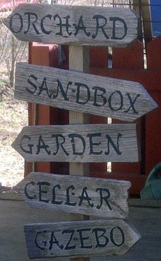 Personalized Garden Sign Hand Painted Recycled Wood, via Etsy.