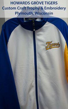Full Zip Howards Grove Baseball Team warmup jacket.  Performance Gear.