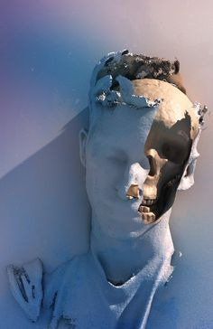 Fading face revealing a scull. Contemporary art sculpture