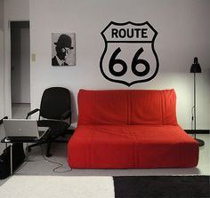 ROUTE 66 SIGN USA AMERICA CUTE DESIGN WALL VINYL STICKER DECALS ART MURAL D1458