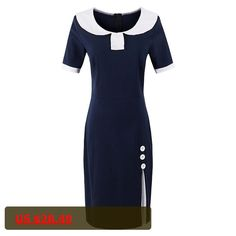 Sisjuly Summer Women Bodycon Dress Spring Dresses Dark Blue Short Sleeve Knee-Length Female Dress Girls Cotton Blends Dresses