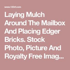 Laying Mulch Around The Mailbox And Placing Edger Bricks. Stock Photo, Picture And Royalty Free Image. Image 13992861.