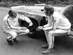 """Steve McQueen, The Filming Of """"Le ... David Piper and Steve McQueen discuss a staged sequence before Piper's crash."""