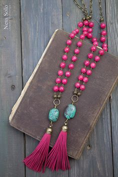 Hot pink necklace Pink tassel necklace Turquoise pendant
