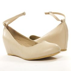 Beige Roudn Toe Ankle Strap Mary Jane Wedge Ballet Med Low Heel Flat Pump Shoe
