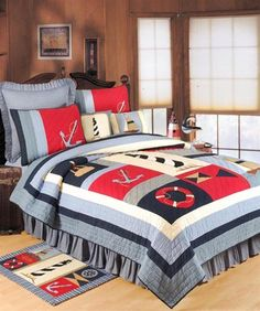 Nautical Comforter Set Special Offers Available Click Image Above Full Queen Isle Nautical Quilt Nautical Quilt Bedding Sets Nautical Bedding, Nautical Quilt, Beach Bedding, Luxury Bedding, Nautical Colors, Nautical Theme, Tropical Bedding, Single Quilt, Clean Bedroom