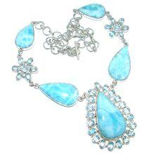 $281.55 Masterpiece+Natural+Blue+Larimar+Swiss+Blue+Topaz+Sterling+Silver+handmade+necklace at www.SilverRushStyle.com #necklace #handmade #jewelry #silver #larimar