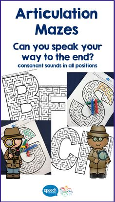 Can you articulate your way out of the maze?Mazes for every consonant sound in initial, medial and final position (with exception for w and y – initial position only, and no maze for x)Great for word level activities, but can be expanded to sentences. Made an extending crazy sentence with each picture you pass. So grab your crayons and see if you can articulate your way through the maze. Articulation Therapy, Speech Therapy Activities, Language School, Speech And Language, Positional Language, Phonological Processes, Speech Room, Interactive Notebooks, Crayons