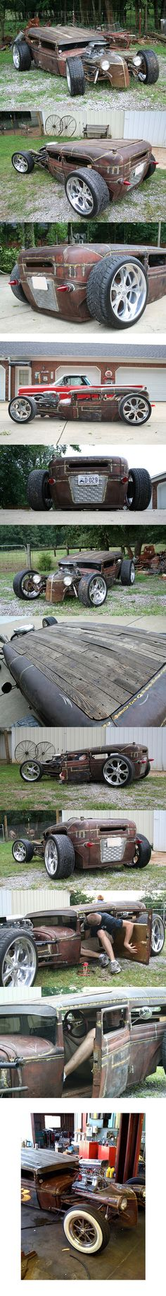 That is 1 Sick Rat Rod... See how tall man get in the car....
