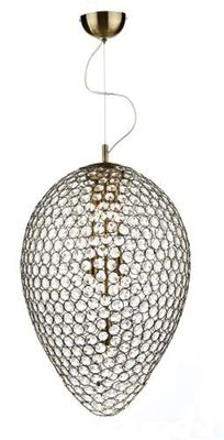 Dar FRO0575 FROST Crystal Antique Brass Ceiling Pendant - Home Lighting Store UK
