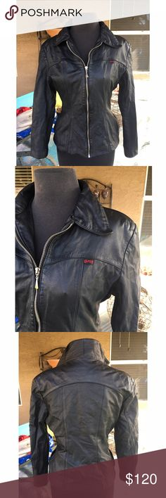 Guess motorcycle real leather jacket Gorgeous Guess Leather Jacket. Excellent condition,vintage.RN NO:25611* Shell: Genuine Leather* Lining: 100% Acetate Satin. Look at picture before last for small imperfection. ❤bundle to save🦋offers welcomed Guess Jackets & Coats