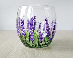 Lavender Wine Glass Gift Stemless wine glass Violet Purple Flowers glasses Personalized Gift Hand Painted Provence Decor Thanksgiving gift