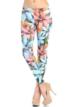 LoveMelrose.com From Harry & Molly | Big Floral Leggings - Blue / Coral