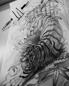 Artwork by: San Location: Markham ON, Canada Artist's IG: Japanese Tiger Tattoo, Japanese Dragon Tattoos, Japanese Sleeve Tattoos, Asian Tattoos, Trendy Tattoos, Tattoos For Guys, Small Tattoos, Tattoo Son, Back Tattoo