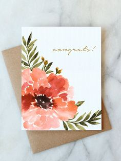 Anemone Congrats Card — Abigail Jayne design Our congrats card features a hand painted anemone with gold foil accents. This card is perfect for saying congrats for an engagement, a wedding, a baby or a graduation. Watercolor Birthday Cards, Watercolor Cards, Watercolor Flowers, Watercolor Paintings, Simple Watercolor, Tattoo Watercolor, Watercolor Animals, Watercolor Background, Watercolor Landscape