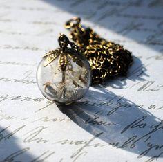 Real Dandelion Necklace Real Dandelion Seeds Make A Wish Large Bead Necklace Botanical  Glass Orb Globe Beadwork. $27.00, via Etsy.