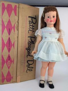 #PattiPlaypal 1960 Companion Doll HTF Curly Bang Auburn Cinnamon Orig Dress,Box #DollswithClothingAccessories #VintageDoll