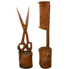 Folk Art Carved Wood Scissor & Comb (7.370 DKK) ❤ liked on Polyvore featuring home, home decor, models & figurines, folk art, wooden home decor, wooden home accessories, wood figure and wooden folk art