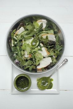 Poached Organic Chicken Salad with Pistachio + Lemon Parsley Mint Salsa Verde