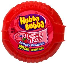 A bulk box of 12 Hubba Bubba Tape Strawberry bubblegum.  This zingy seriously strawberry flavoured bubblegum in a handy dispenser has a delicious taste and long lasting flavour!