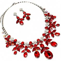 Beautiful red necklace and earring set