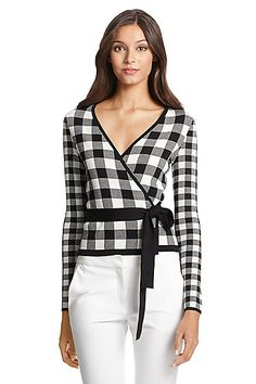 DVF Kyla Gingham Printed Wrap Sweater in in Black/ White Gingham