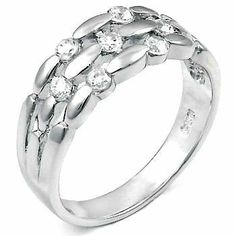 Ravishing Rattan Inspired Sterling Silver Fashion Band Wedding Ring, Crafted with High Quality Round-Cut Diamond Color Cubic Zirconia, Limited-Time Sale Offer, Comes with Free Gift Pouch and Gift Box silverjewelryforever. $39.99