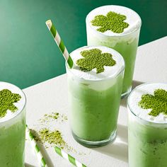 This mint-chip milkshake recipe is great all year but come St. Patrick's Day time we definitely break out our shamrock cookie cutter to make that cute garnish on top. Funnel Cakes, Sorbet, Biscotti, Mint Chip Ice Cream, Matcha Green Tea Latte, Cheesecake, Milkshake Recipes, Milkshakes, Cream Tea